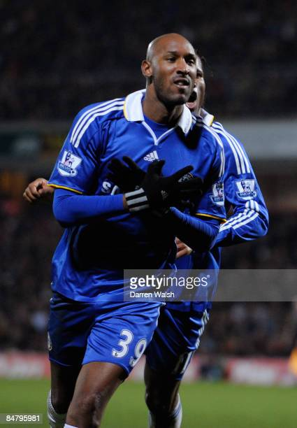 Nicolas Anelka of Chelsea celebrates scoring his team's first goal during the FA Cup sponsored by E.ON 5th Round match between Watford and Chelsea at...