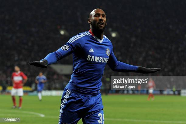 Nicolas Anelka of Chelsea celebrates scoring his team's second goal during the UEFA Champions League Group F match between Spartak Moscow and Chelsea...