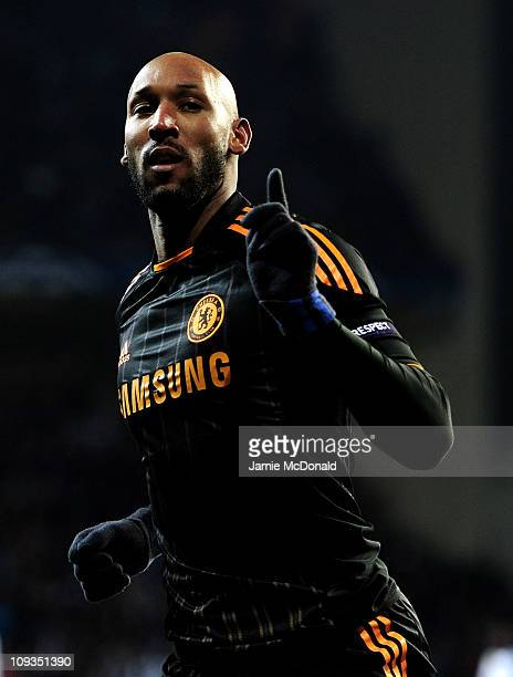 Nicolas Anelka of Chelsea celebrates scoring his team's second goal during the UEFA Champions League round of 16 first leg match between FC...