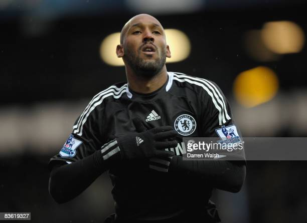 Nicolas Anelka of Chelsea celebrates scoring his team's second goal during the Barclays Premier League match between Blackburn Rovers and Chelsea at...