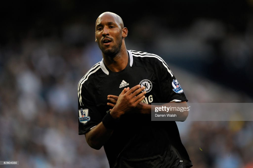 Nicolas Anelka of Chelsea celebrates scoring his teams third goal of the game during the Barclays Premier League match between Manchester City and Chelsea at The City of Manchester Stadium on September 13, 2008 in Manchester, England.