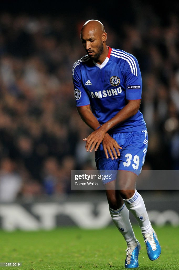Nicolas Anelka of Chelsea celebrates scoring the second goal from the penalty spot during the UEFA Champions League Group F match between Chelsea FC and Marseille at Stamford Bridge on September 28, 2010 in London, England.