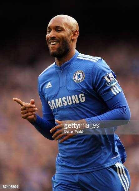 Nicolas Anelka of Chelsea celebrates scoring the second goal of the game during the Barclays Premier League match between Chelsea and Blackburn...