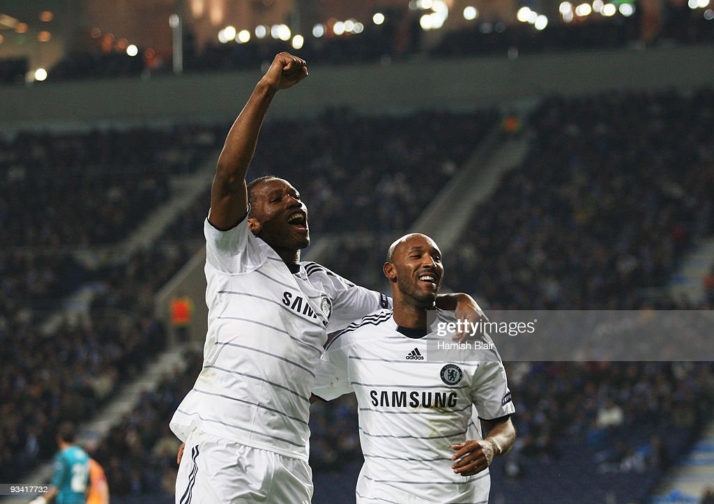 Nicolas Anelka of Chelsea (R) celebrates with Didier Drogba as he scores their first goal during the UEFA Champions League Group D match between FC Porto and Chelsea at the Estadio Do Dragao on November 25, 2009 in Porto, Portugal.