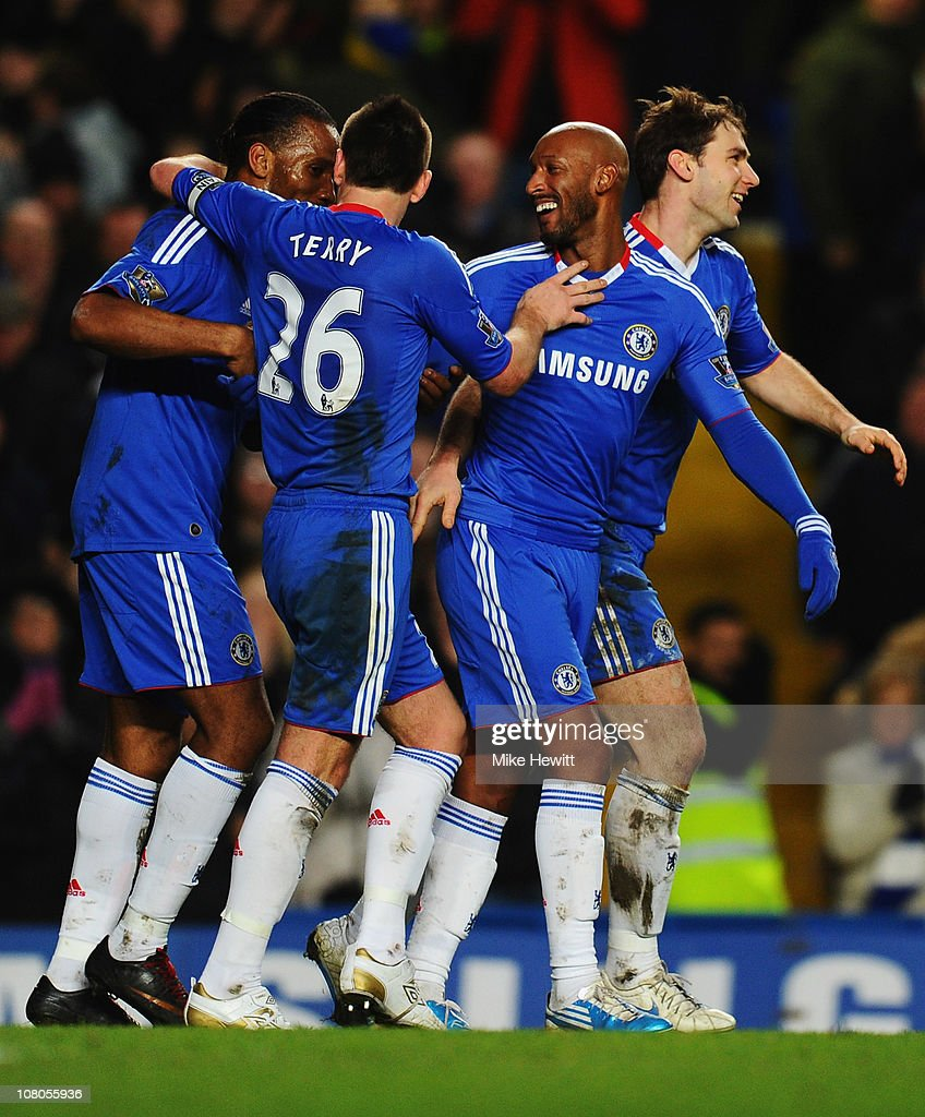 Nicolas Anelka of Chelsea (2R) celebrates with Didier Drogba (L), John Terry (2L) and Branislav Ivanovic (R) as he scores their second goal during the Barclays Premier League match between Chelsea and Blackburn Rovers at Stamford Bridge on January 15, 2011 in London, England.