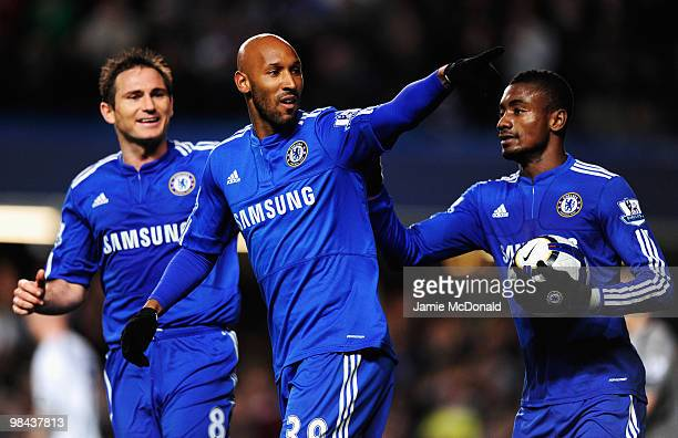 Nicolas Anelka of Chelsea celebrates with Frank Lampard and Salomon Kalou as he scores their first goal during the Barclays Premier League match...