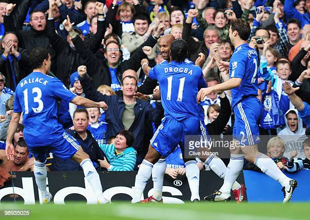 Nicolas Anelka of Chelsea celebrates with Michael Ballack Didier Drogba and Branislav Ivanovic as he scores their first goal during the Barclays...