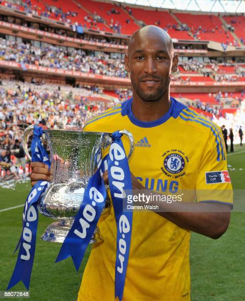 Nicolas Anelka of Chelsea holds the trophy after the FA Cup sponsored by EON Final match between Chelsea and Everton at Wembley Stadium on May 30...