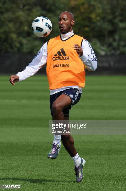 Nicolas Anelka of Chelsea on the ball during a training session at the Cobham training ground on August 13, 2010 in Cobham, England.