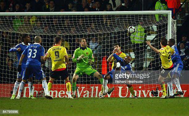 Nicolas Anelka of Chelsea scores his first goal during the FA Cup sponsored by EON 5th Round match between Watford and Chelsea at Vicarage Road on...