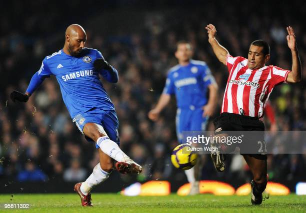 Nicolas Anelka of Chelsea scores his sides sixth goal during the Barclays Premier League match between Chelsea and Sunderland at Stamford Bridge on...