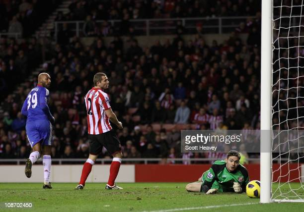 Nicolas Anelka of Chelsea scores his team's fourth goal past Craig Gordon of Sunderland during the Barclays Premier League match between Sunderland...