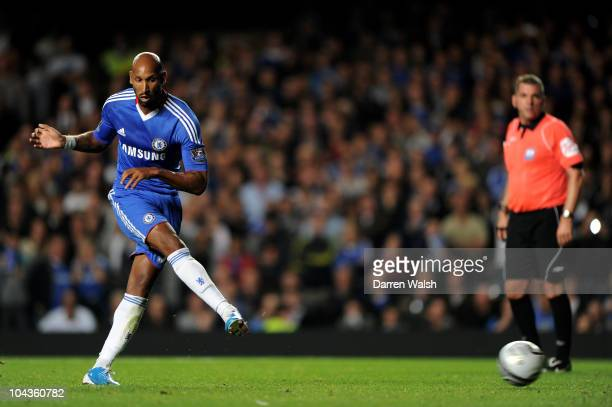 Nicolas Anelka of Chelsea scores his team's third goal from the penalty spot during the Carling Cup third round match between Chelsea and Newcastle...
