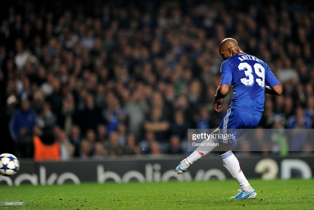 Nicolas Anelka of Chelsea scores the second goal from the penalty spot during the UEFA Champions League Group F match between Chelsea FC and Marseille at Stamford Bridge on September 28, 2010 in London, England.