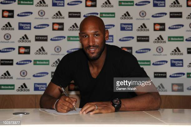 Nicolas Anelka of Chelsea signs a one-year extension to his existing contract that will keep him at the club until 2012, at the Cobham training...