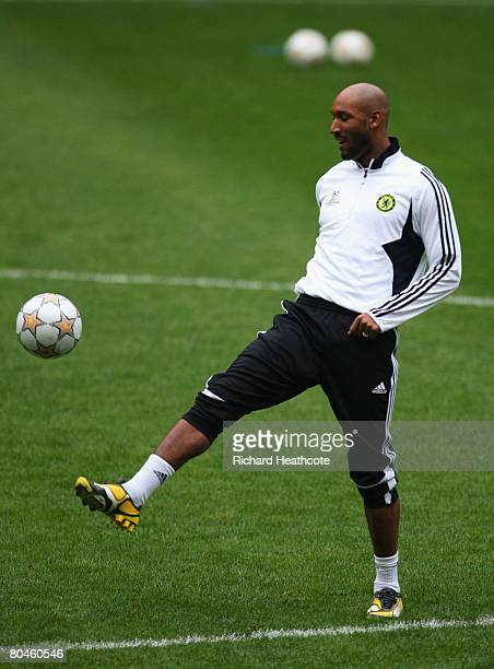 Nicolas Anelka of Chelsea warms up during the Chelsea Training ahead of their UEFA Champions League Quarter Final match against Fenerbache at the...