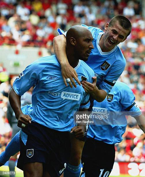 Nicolas Anelka of Manchester City celebrates scoring the opening goal during the FA Barclaycard Premiership match between Charlton Athletic and...