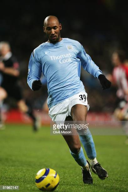 Nicolas Anelka of Manchester City in action during the Barclays Premiership match between Manchester City and Southampton at the City Of Manchester...