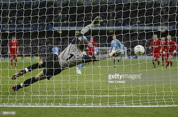 Nicolas Anelka of Manchester City scores a penalty during the FA Barclaycard Premiership match between Manchester City and Liverpool at the City of...