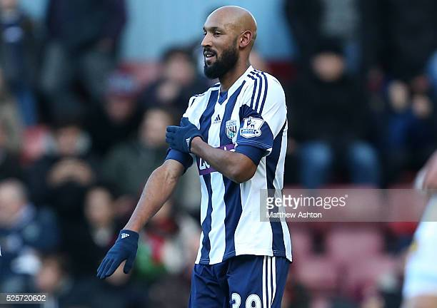 Nicolas Anelka of West Bromwich Albion celebrates after scoring a goal to make it 11 Anelka makes gesture that looks like an antizionist salute Le...