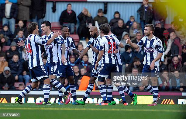 Nicolas Anelka of West Bromwich Albion turns to celebrate after he scores his goal to level the match to 11 Anelka makes gesture that looks like an...