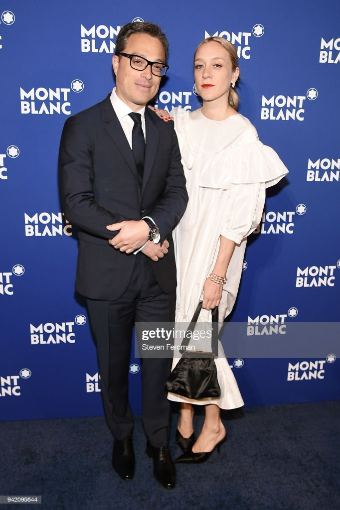 Nicolas Baretzki and Chloe Sevigny attend Montblanc Celebrates 'Le Petit Prince' at the One World Trade Center Observatory on April 4, 2018 in New York City.