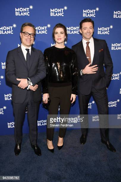 Nicolas Baretzki Charlotte Casiraghi and Hugh Jackman attend Montblanc Celebrates Le Petit Prince at the One World Trade Center Observatory on April...