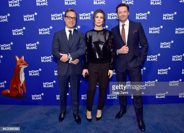 Nicolas Baretzki Charlotte Casiraghi and Hugh Jackman attends the Montblanc Meisterstuck Le Petit Prince event at One World Trade Center Observatory...