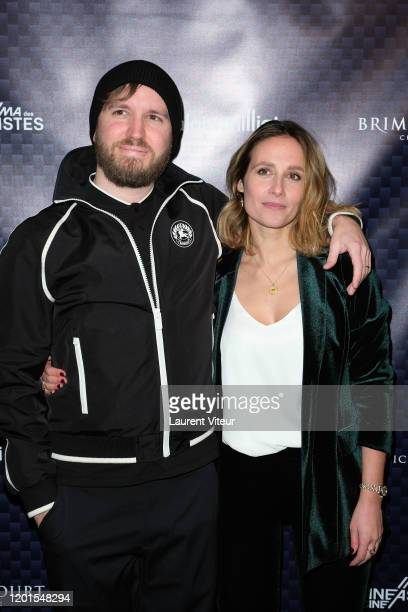 """Nicolas Bary and Gwendolyn Gourvenec attend """"VeRsus"""" an exhibition by Nicolas Bary at Cinema des Cineastes on January 23, 2020 in Paris, France."""