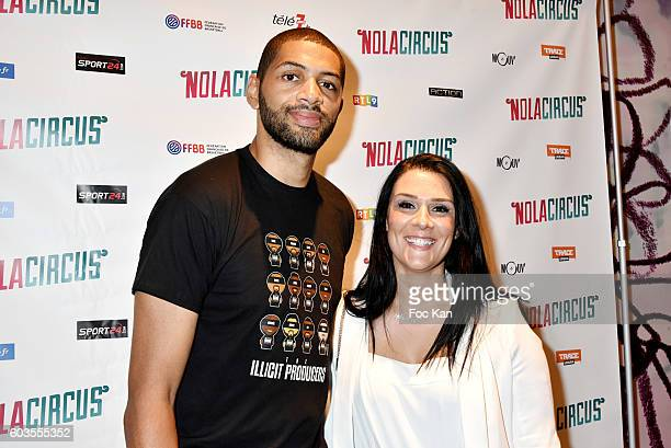 Nicolas Batum and his wife Aurelie Batum attend the 'Nola Circus' Paris Premiere at Gaumont Opera Capucines on September 12 2016 in Paris France