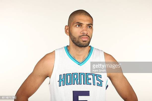 Nicolas Batum of Charlotte Hornets poses for Media Day Portraits at the Time Warner Cable Arena on September 26 2016 in Charlotte North Carolina NOTE...