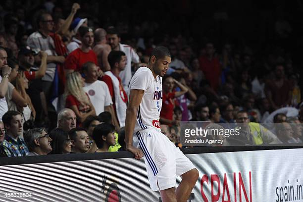 Nicolas Batum of France is seen after the 2014 FIBA World Basketball Championship SemiFinal basketball match between France and Serbia at Palacio de...