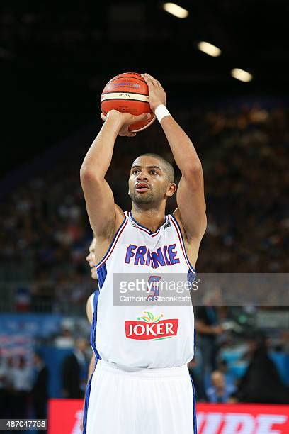Nicolas Batum of France shots a free throw during the EuroBasket Group Phase game between France v Finland at Park and Suites Arena on September 5...