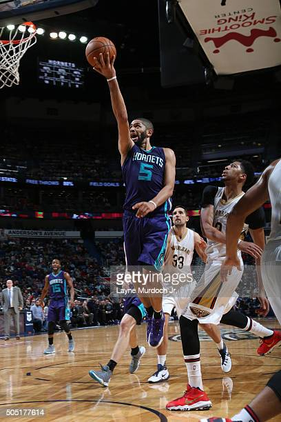 Nicolas Batum of the Charlotte Hornets goes for the layup against the New Orleans Pelicans during the game on January 15 2016 at Smoothie King Center...