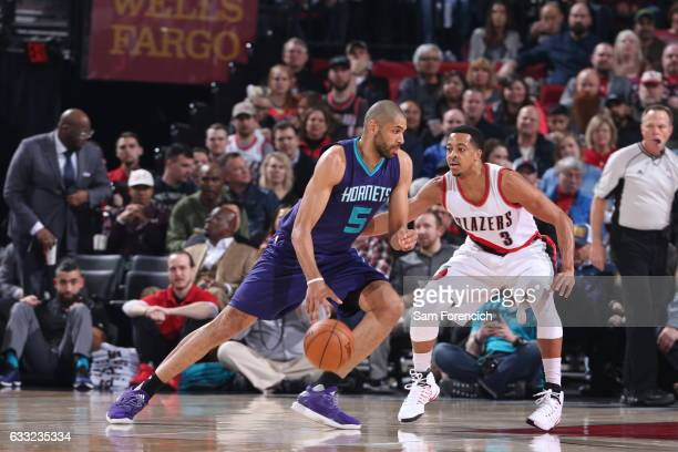 Nicolas Batum of the Charlotte Hornets handles the ball Portland Trail Blazers on January 31 2017 at the Moda Center in Portland Oregon NOTE TO USER...