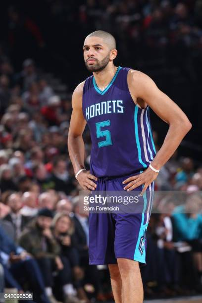 Nicolas Batum of the Charlotte Hornets looks on during the game against the Portland Trail Blazers on January 31 2017 at the Moda Center in Portland...