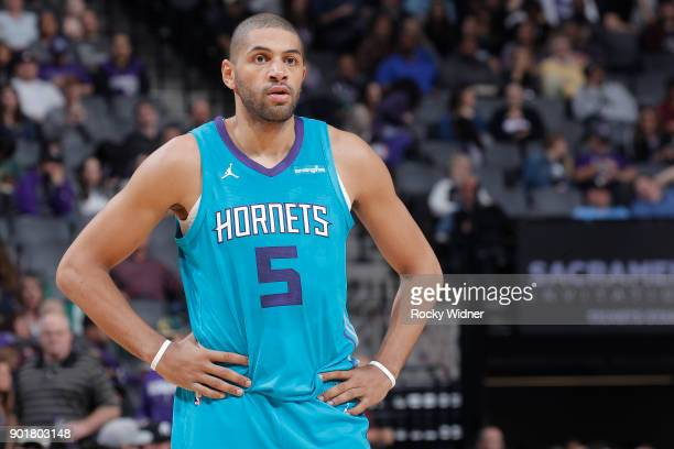 Nicolas Batum of the Charlotte Hornets looks on during the game against the Sacramento Kings on January 2 2018 at Golden 1 Center in Sacramento...