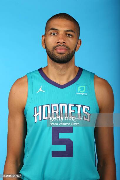 Nicolas Batum of the Charlotte Hornets poses for a head shot during media day on September 24 at the Spectrum Center in Charlotte North Carolina NOTE...