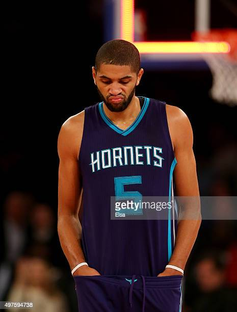 Nicolas Batum of the Charlotte Hornets reacts to the loss to the New York Knicks at Madison Square Garden on November 17 2015 in New York CityNOTE TO...