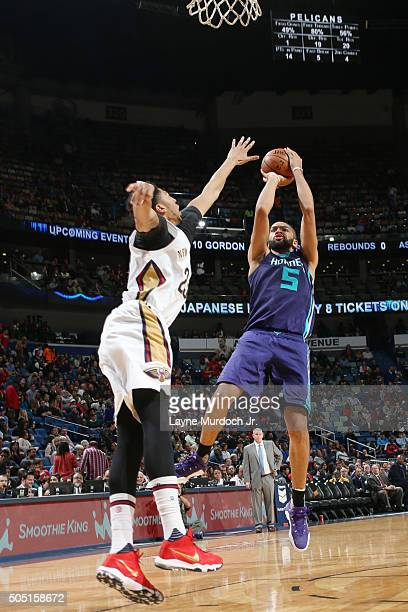 Nicolas Batum of the Charlotte Hornets shoots against the New Orleans Pelicans during the game on January 15 2016 at Smoothie King Center in New...