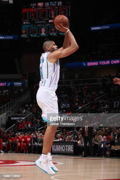 Nicolas Batum of the Charlotte Hornets shoots the ball against the Atlanta Hawks on February 9 2019 at State Farm Arena in Atlanta Georgia NOTE TO...