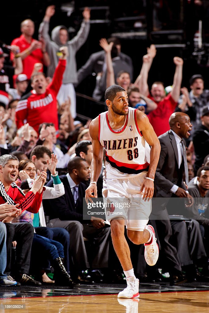 Nicolas Batum #88 of the Portland Trail Blazers celebrates after making a three-pointer against the Orlando Magic on January 7, 2013 at the Rose Garden Arena in Portland, Oregon.