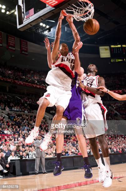 Nicolas Batum of the Portland Trail Blazers dunks during the game against the Sacramento Kings at the Rose Garden on December 16, 2008 in Portland,...