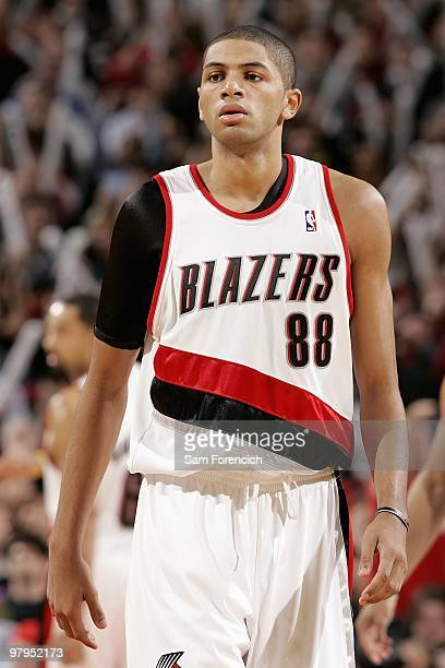 Nicolas Batum of the Portland Trail Blazers stands on the court during the game against the New Orleans Hornets on January 25 2010 at the Rose Garden...