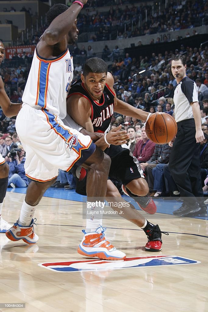 Nicolas Batum #88 of the Portland Trailblazers drives to the basket against Jeff Green #22 of the Oklahoma City Thunder on March 28, 2010 at the Ford Center in Oklahoma City, Oklahoma.