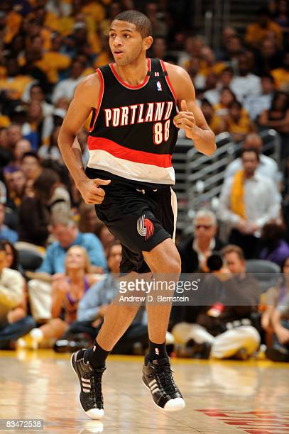 Nicolas Batum of the Portland Trailblazers runs up the court during the game against the Los Angeles Lakers at Staples Center on October 28 2008 in...