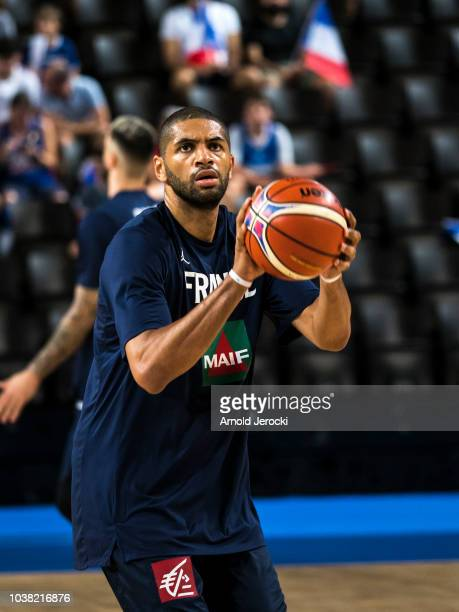 Nicolas Batum warm up before the FIBA Basketball Wolrd cup 2019 qualifier match between France and Finland at the Sud de France Arena on September 16...