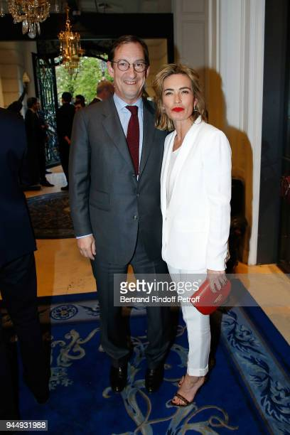 Nicolas Bazire and his Wife Fabienne attend 'Once Upon a Time The Ritz Paris' Auction Coktail Party at Artcurial on April 11 2018 in Paris France