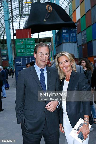 Nicolas Bazire and his wife Fabienne attend the 'Empires' exhibition of Huang Yong Ping as part of Monumenta 2016 Opening at Le Grand Palais on May 9...