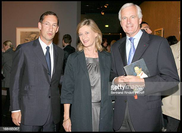 Nicolas Bazire Michel Barnier and his wife Isabelle at Private Viewing Of The Exhibition Picasso Et Les Maitres At Grand Palais In paris